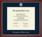 Georgetown University Diploma Frame - Pewter Masterpiece Medallion Diploma Frame in Kensington Silver