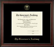 The Governor's Academy Diploma Frame - Gold Embossed Diploma Frame in Studio