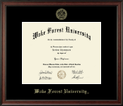 Wake Forest University Diploma Frame - Gold Embossed Diploma Frame in Studio