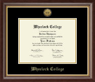 Wheelock College Diploma Frame - Gold Engraved Medallion Diploma Frame in Hampshire
