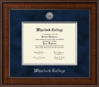 Wheelock College Diploma Frame - Presidential Silver Engraved Diploma Frame in Madison