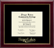Finger Lakes Community College Diploma Frame - Gold Embossed Diploma Frame in Gallery
