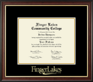 Finger Lakes Community College Diploma Frame - Gold Embossed Diploma Frame in Studio Gold