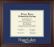 Finger Lakes Community College Diploma Frame - Gold Embossed Diploma Frame in Studio