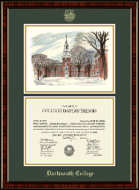 Dartmouth College Diploma Frame - Baker Memorial Library Overly Campus Scene Diploma Frame in Ridgewood