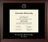 Concordia University Saint Paul Minnesota Diploma Frame - Gold Embossed Diploma Frame in Studio