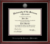 University of the Sciences in Philadelphia Diploma Frame - Silver Engraved Medallion Diploma Frame in Kensington Silver