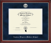 Eastern Virginia Medical School Diploma Frame - Silver Engraved Medallion Diploma Frame in Kensington Silver