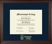 Mississippi College Diploma Frame - Gold Embossed Diploma Frame in Studio