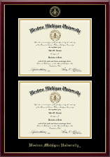 Western Michigan University Diploma Frame - Double Document Diploma Frame in Galleria