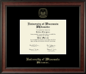 University of Wisconsin Whitewater Diploma Frame - Gold Embossed Diploma Frame in Studio