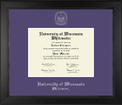 University of Wisconsin Whitewater Diploma Frame - Silver Embossed Diploma Frame in Arena