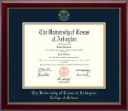 The University of Texas Arlington (UTA) Diploma Frame - Gold Embossed Diploma Frame in Gallery