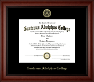 Gustavus Adolphus College Diploma Frame - Gold Embossed Diploma Frame in Cambridge