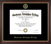 Gustavus Adolphus College Diploma Frame - Gold Embossed Diploma Frame in Studio Gold