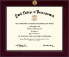 York College of Pennsylvania Diploma Frame - Century Gold Engraved Diploma Frame in Cordova
