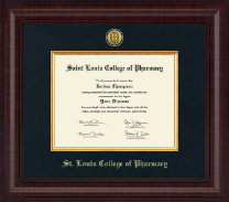 Saint Louis College of Pharmacy Diploma Frame - Presidential Gold Engraved Diploma Frame in Premier