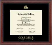 Columbia College Diploma Frame - Gold Embossed Diploma Frame in Signature