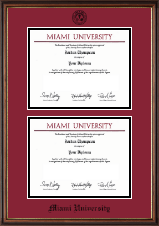 Miami University Diploma Frame - Double Document Diploma Frame in Williamsburg