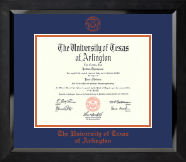 The University of Texas Arlington (UTA) Diploma Frame - Orange Embossed Diploma Frame in Eclipse