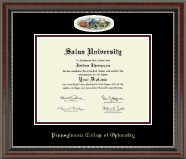 Pennsylvania College of Optometry Diploma Frame - Campus Cameo Diploma Frame in Chateau