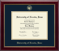 University of Nevada Reno Diploma Frame - Gold Embossed Diploma Frame in Gallery