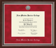 New Mexico Junior College Diploma Frame - Silver Engraved Medallion Diploma Frame in Devonshire