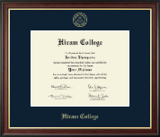 Hiram College Diploma Frame - Gold Embossed Diploma Frame in Studio Gold