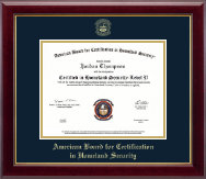 American Board for Certification in Homeland Security Certificate Frame - Gold Embossed Certificate Frame in Gallery