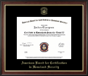 American Board for Certification in Homeland Security Certificate Frame - Gold Embossed Certificate Frame in Studio Gold