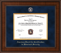 American Board for Certification in Homeland Security Certificate Frame - Presidential Masterpiece Certificate Frame in Madison