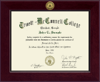 Truett McConnell College Diploma Frame - Century Gold Engraved Diploma Frame in Cordova