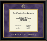 San Francisco State University Diploma Frame - Gold Embossed Diploma Frame in Onyx Gold