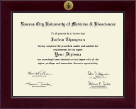 Kansas City University of Medicine and Biosciences Diploma Frame - Century Gold Engraved Diploma Frame in Cordova