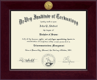 DeVry Institute of Technology Diploma Frame - Century Gold Engraved Diploma Frame in Cordova