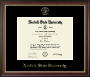 Norfolk State University Diploma Frame - Gold Embossed Diploma Frame in Studio Gold