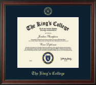 The King's College in New York City Diploma Frame - Embossed Diploma Frame in Studio