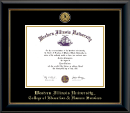 Western Illinois University Diploma Frame - Gold Engraved Medallion Diploma Frame in Onyx Gold