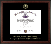 Western Illinois University Diploma Frame - Gold Embossed Diploma Frame in Studio