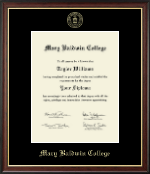 Mary Baldwin College Diploma Frame - Gold Embossed Diploma Frame in Studio Gold