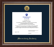 Mercersburg Academy Diploma Frame - Gold Engraved Shield Medallion Diploma Frame in Hampshire