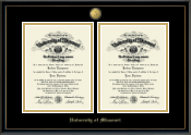 University of Missouri Columbia Diploma Frame - 23K Medallion Double Diploma Frame in Onexa Gold