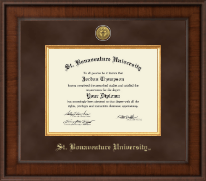St. Bonaventure University Diploma Frame - Presidential Gold Engraved Diploma Frame in Madison