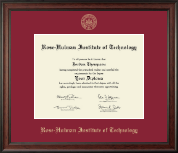 Rose Hulman Institute of Technology Diploma Frame - Gold Embossed Diploma Frame in Studio