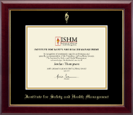 Institute for Safety and Health Management Certificate Frame - Gold Embossed Certificate Frame in Gallery