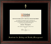 Institute for Safety and Health Management Certificate Frame - Gold Embossed Certificate Frame in Studio