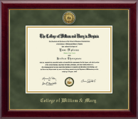 William & Mary Diploma Frame - Gold Engraved Medallion Diploma Frame in Gallery
