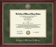 William & Mary Diploma Frame - Masterpiece Medallion Diploma Frame in Kensington Gold