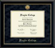 Flagler College Diploma Frame - Gold Engraved Medallion Diploma Frame in Onyx Gold