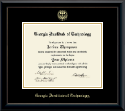 Georgia Institute of Technology Diploma Frame - Gold Embossed Diploma Frame in Onyx Gold